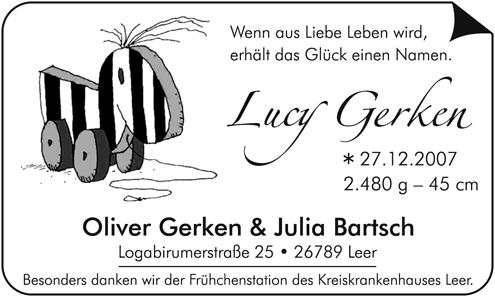 Geburtsanzeige Lucy Gerken