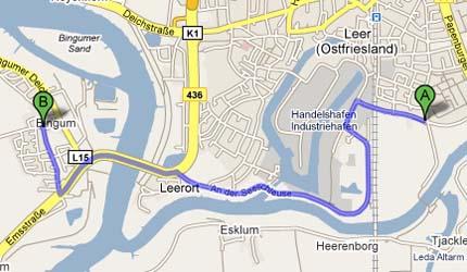 Routenplanung mit Brücke