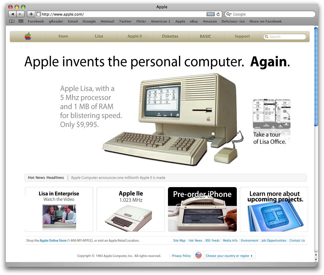 Internetseite von Apple aus dem Jahre 1983