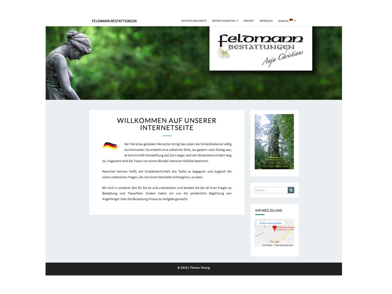 Webseite Feldmann Bestattungen