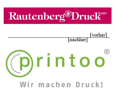 Logovergleich von Rautenberg und printoo