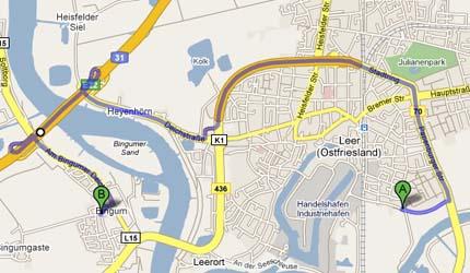 Routenplanung ohne Brücke