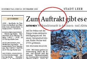 Schreibfehler in der Ostfriesenzeitung