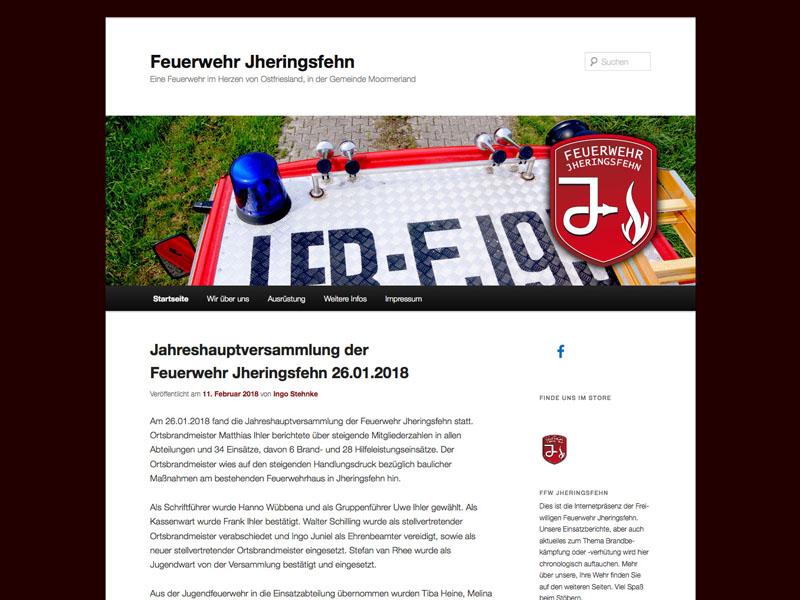Webseite Feuerwehr Jheringsfehn